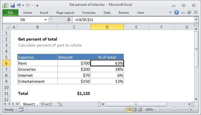 Excel Formula of percentage